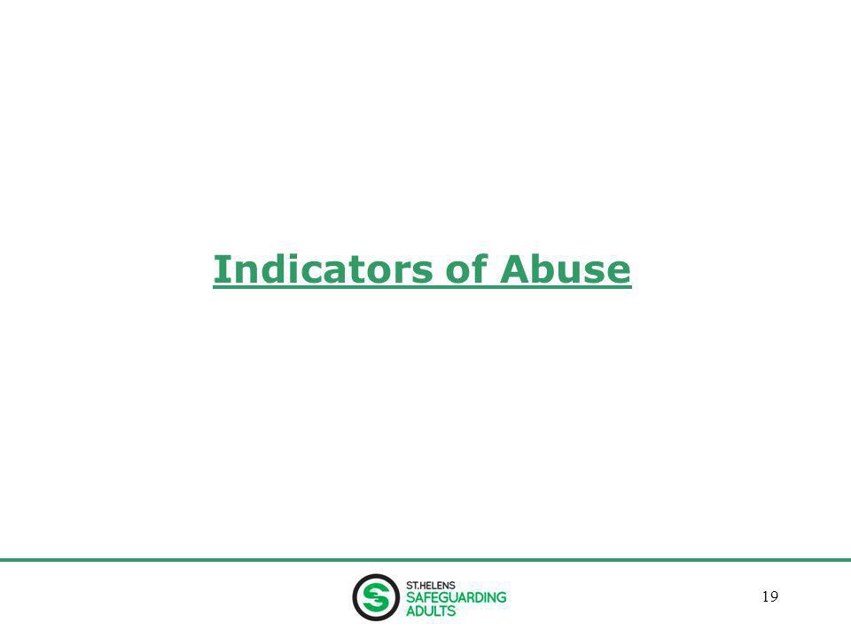 January 201319 Indicators of Abuse