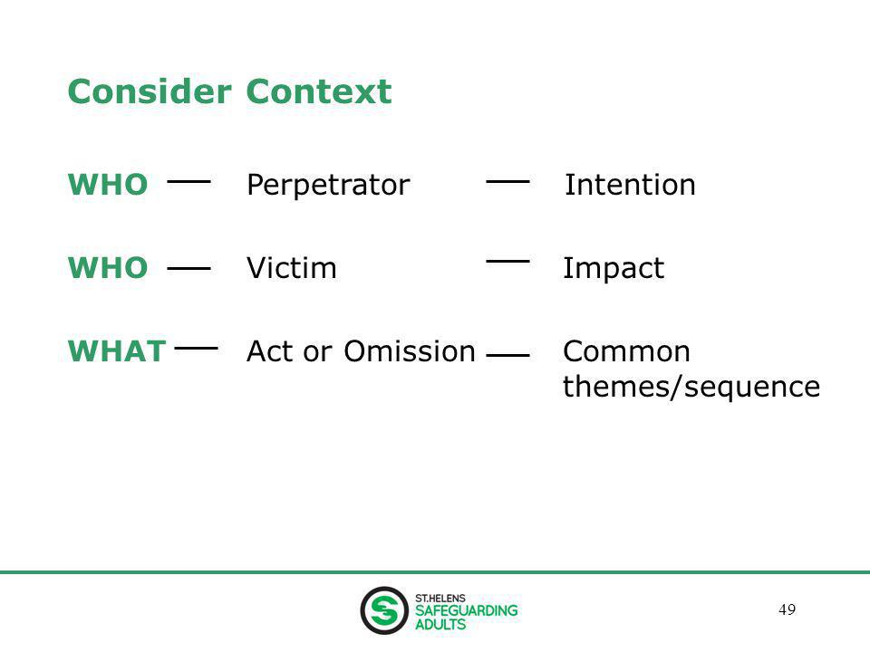 January 201349 Consider Context WHO Perpetrator Intention WHO VictimImpact WHAT Act or OmissionCommon themes/sequence