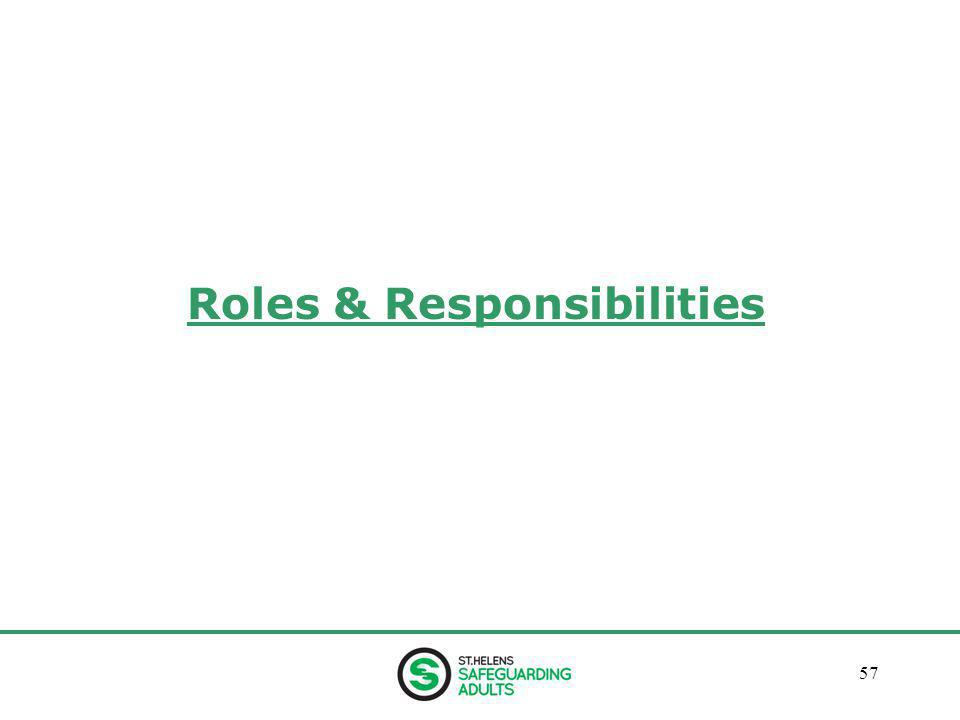 January 201357 Roles & Responsibilities