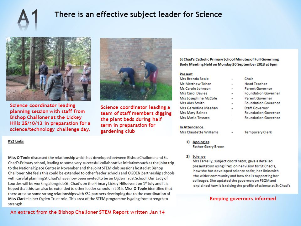 There is an effective subject leader for Science Science coordinator leading planning session with staff from Bishop Challoner at the Lickey Hills 25/