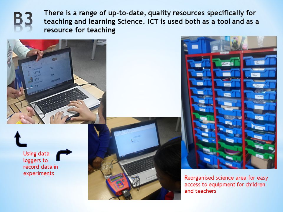 There is a range of up-to-date, quality resources specifically for teaching and learning Science. ICT is used both as a tool and as a resource for tea