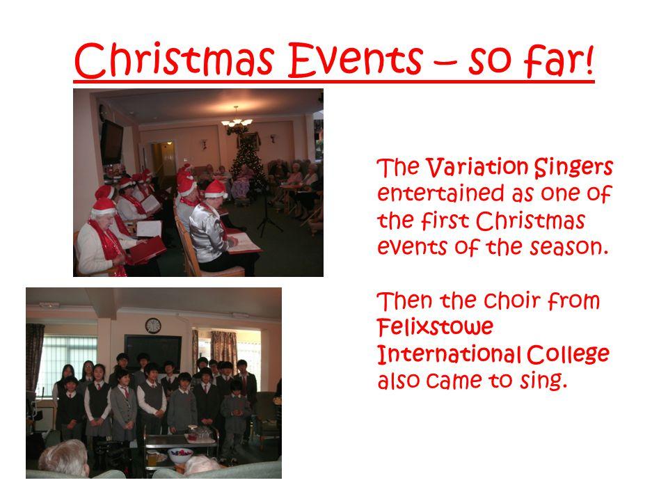 Christmas Events – so far.