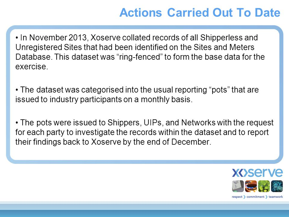 In November 2013, Xoserve collated records of all Shipperless and Unregistered Sites that had been identified on the Sites and Meters Database. This d