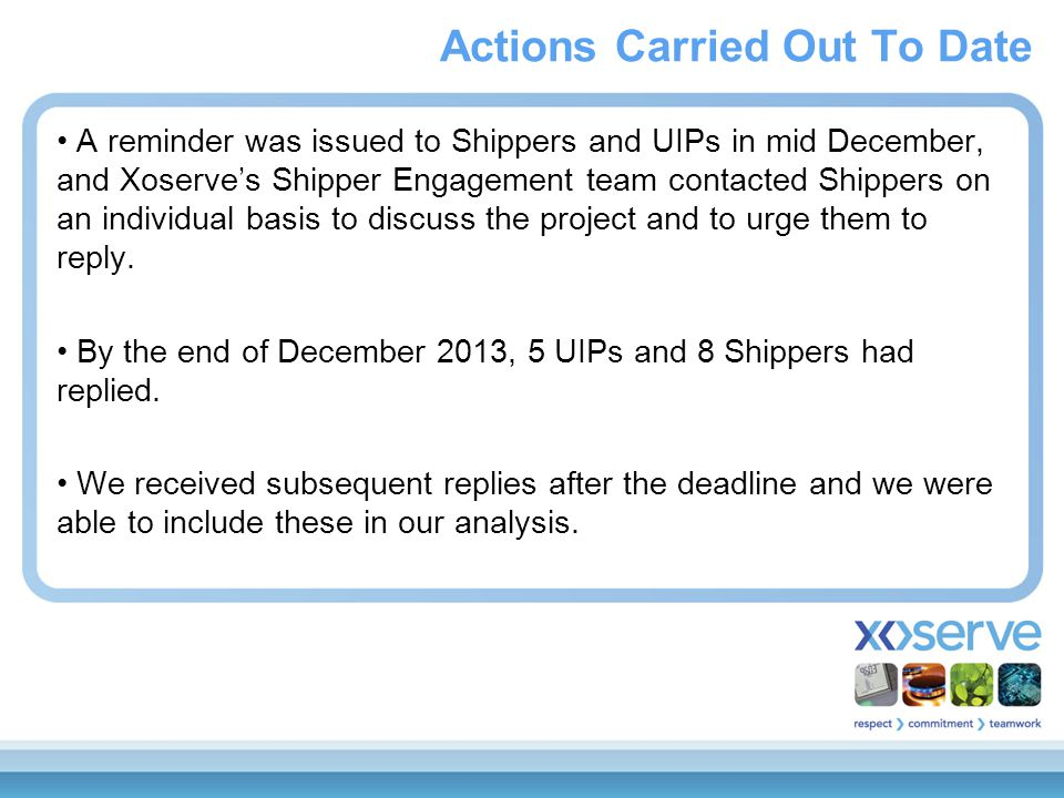 A reminder was issued to Shippers and UIPs in mid December, and Xoserve's Shipper Engagement team contacted Shippers on an individual basis to discuss
