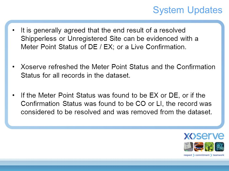 System Updates It is generally agreed that the end result of a resolved Shipperless or Unregistered Site can be evidenced with a Meter Point Status of DE / EX; or a Live Confirmation.