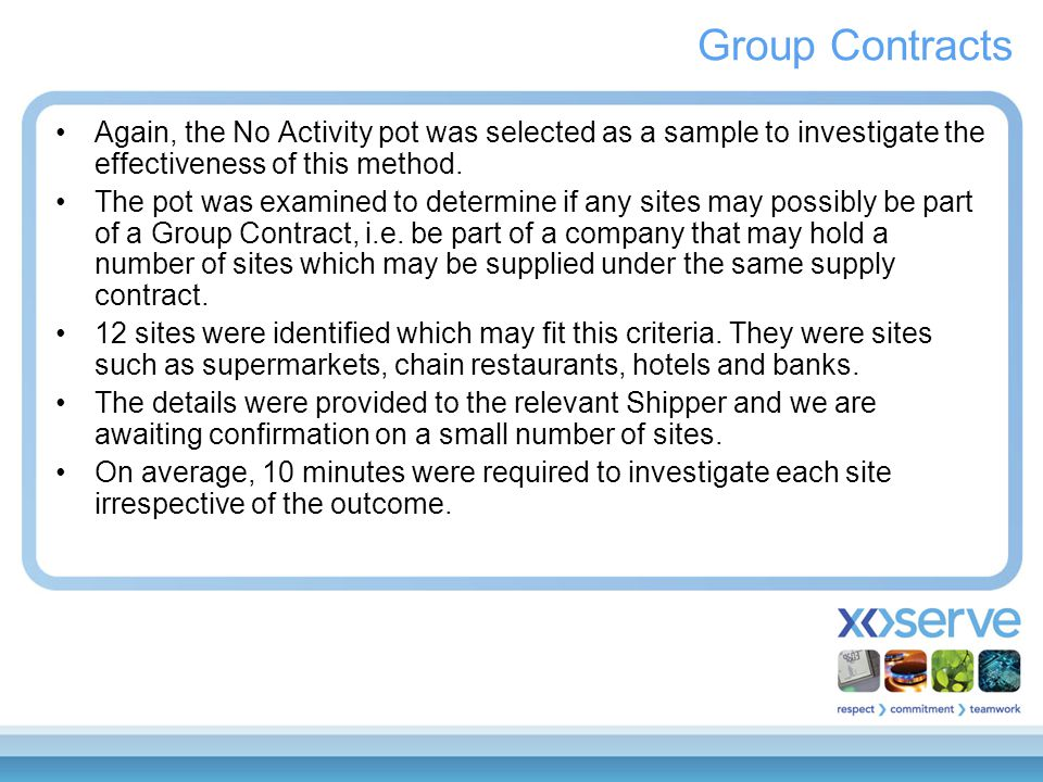 Group Contracts Again, the No Activity pot was selected as a sample to investigate the effectiveness of this method. The pot was examined to determine