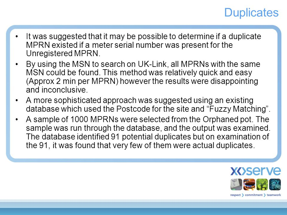 Duplicates It was suggested that it may be possible to determine if a duplicate MPRN existed if a meter serial number was present for the Unregistered