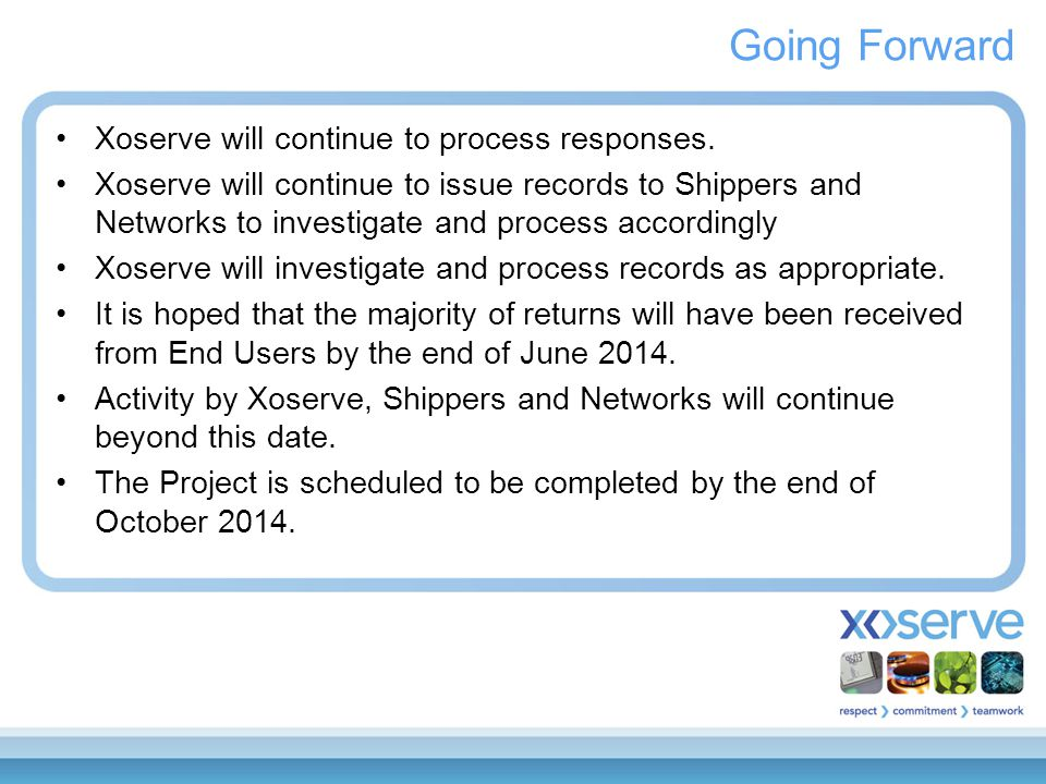 Going Forward Xoserve will continue to process responses. Xoserve will continue to issue records to Shippers and Networks to investigate and process a