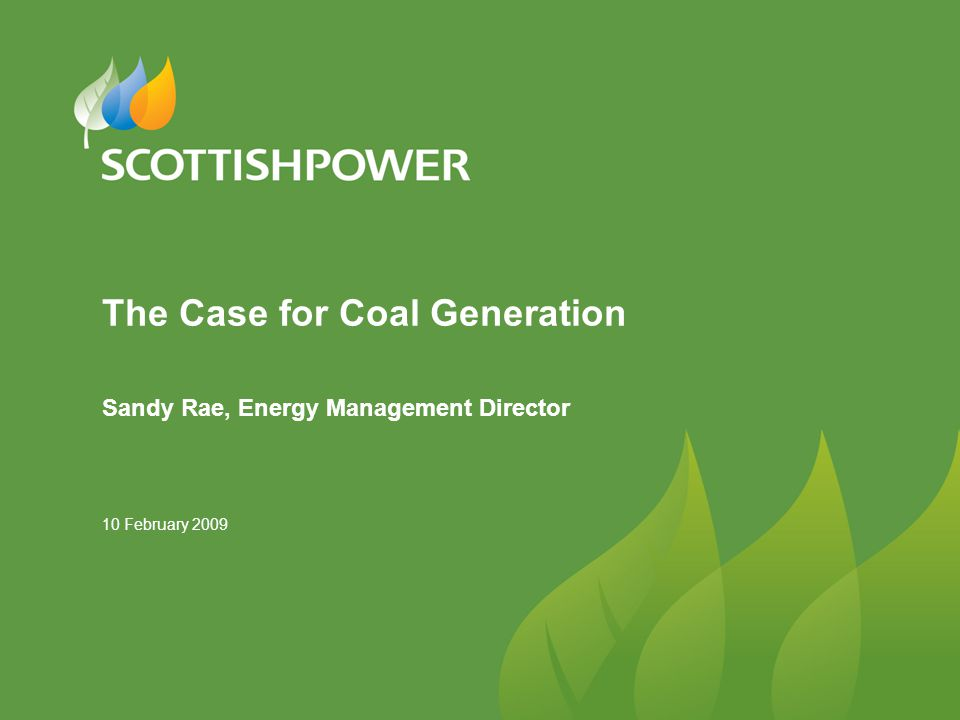 10 February 2009 The Case for Coal Generation Sandy Rae, Energy Management Director