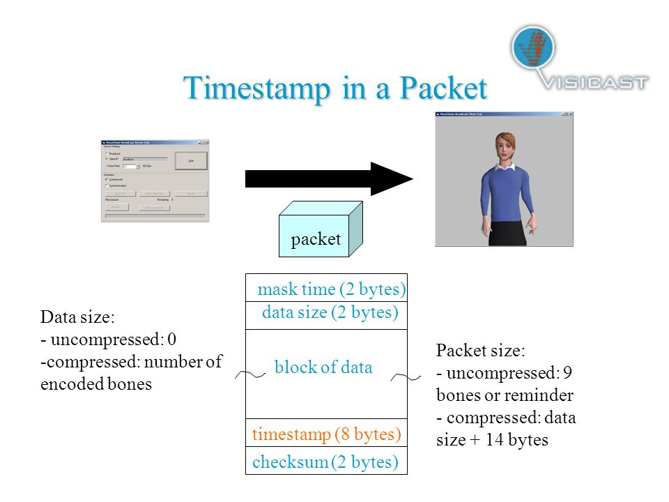 Timestamp in a Packet packet mask time (2 bytes) data size (2 bytes) block of data timestamp (8 bytes) checksum (2 bytes) Packet size: - uncompressed: