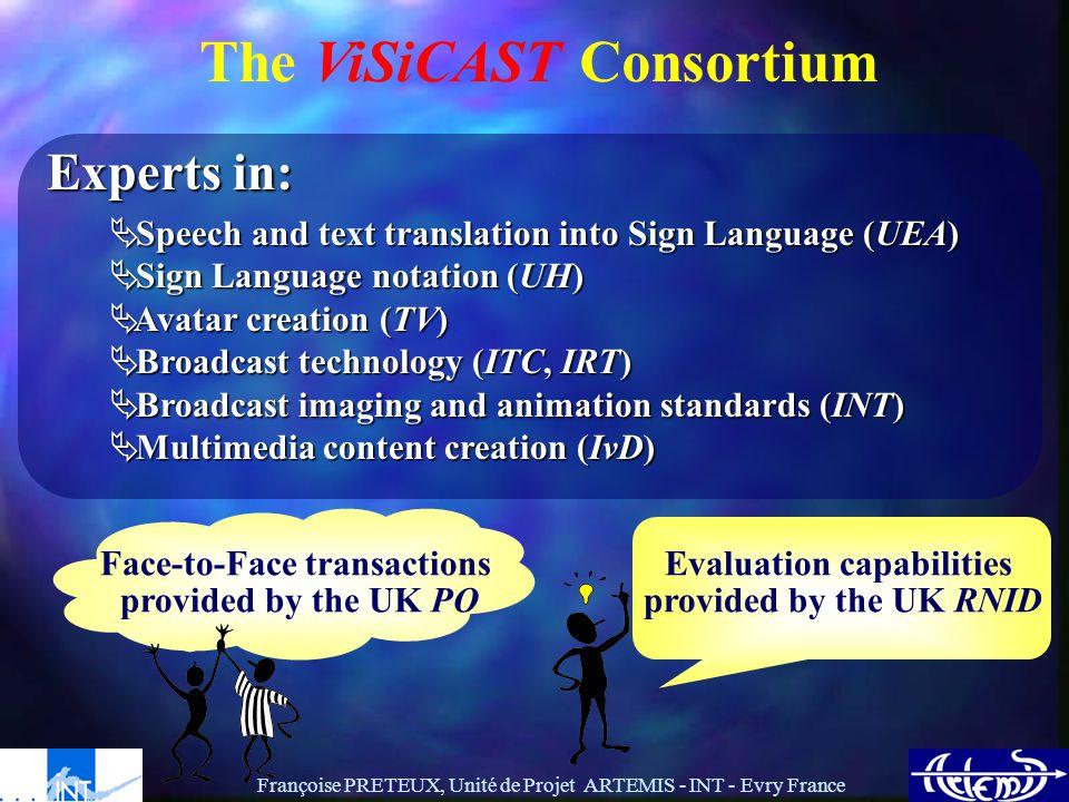 Françoise PRETEUX, Unité de Projet ARTEMIS - INT - Evry France MPEG-4 compliant avatar definition & animation MPEG-7 compliant sign language indexing ARTEMIS Contributions