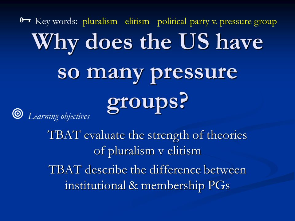 Why does the US have so many pressure groups.
