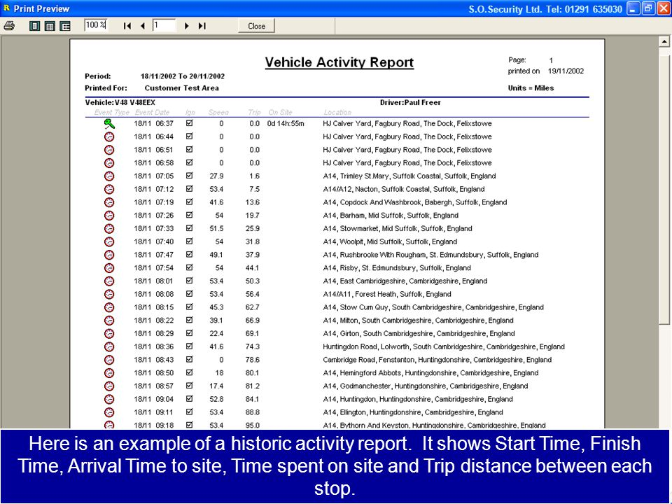 Here is an example of a historic activity report.