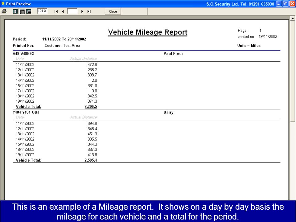 This is an example of a Mileage report.