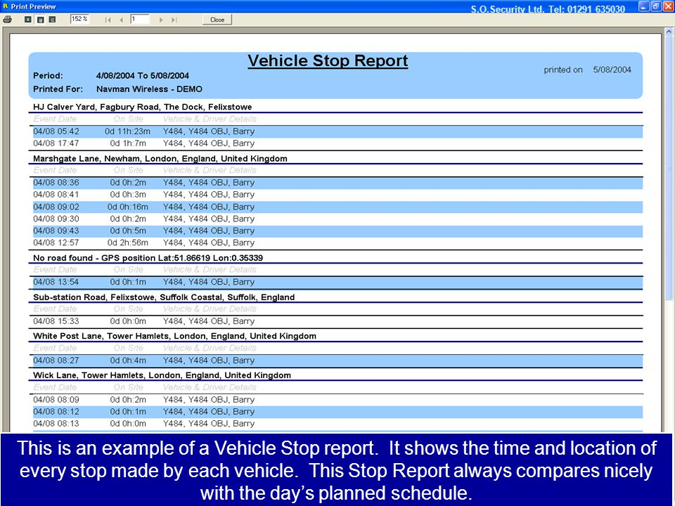This is an example of a Vehicle Stop report.