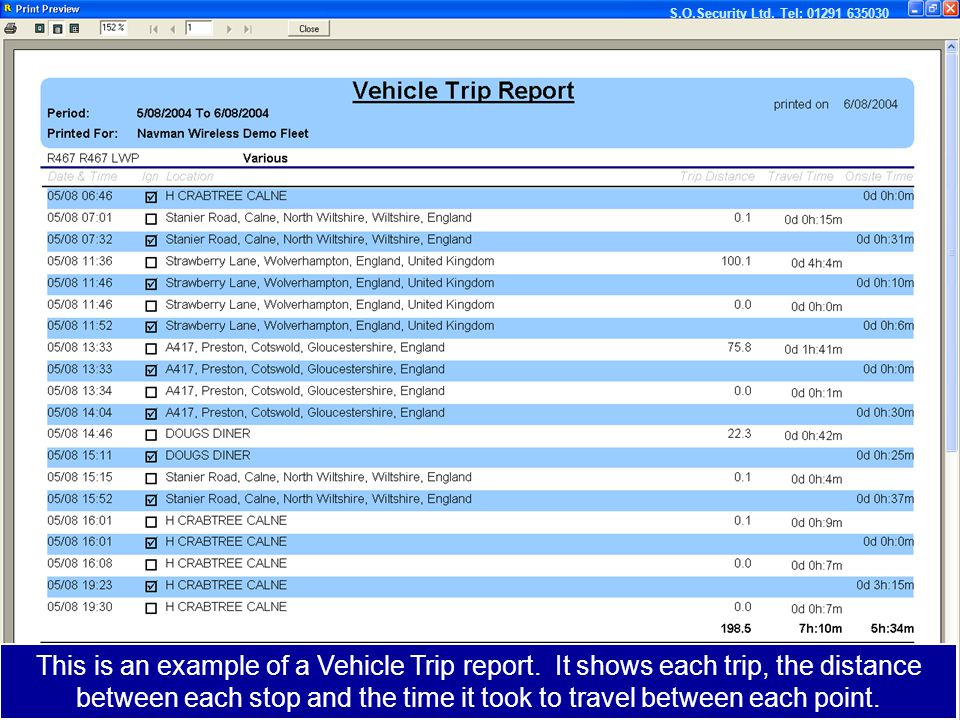 This is an example of a mileage report. This is an example of a Vehicle Trip report.