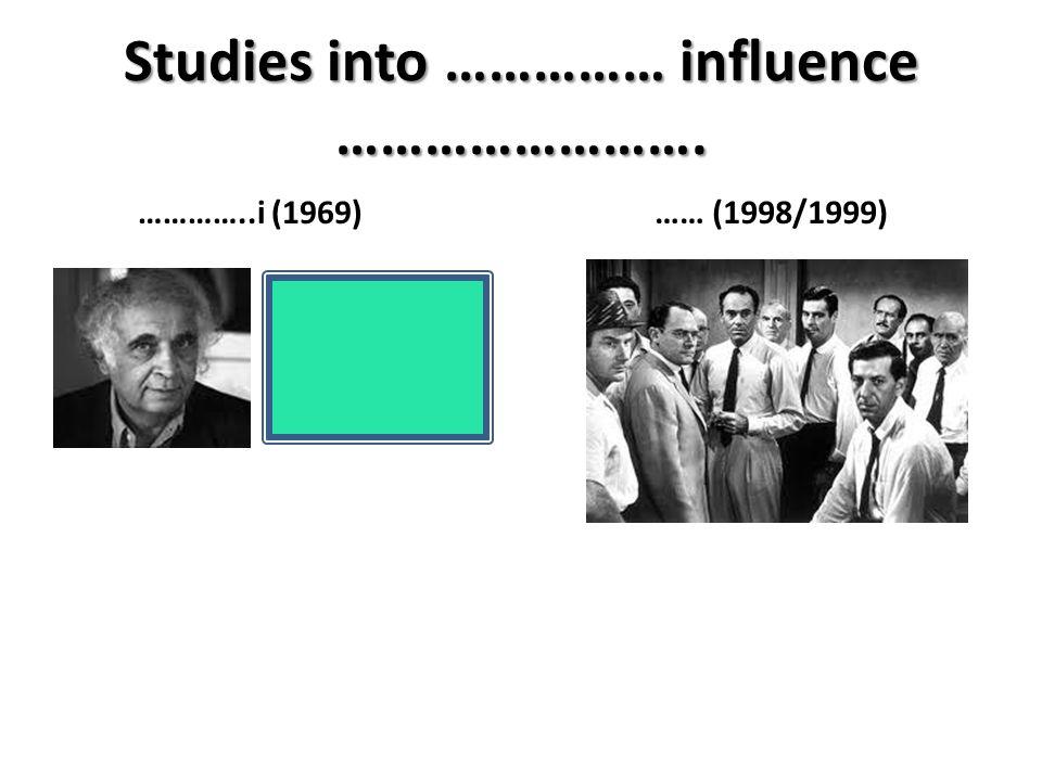 Studies into …………… influence ……………………. …………..i (1969)…… (1998/1999)