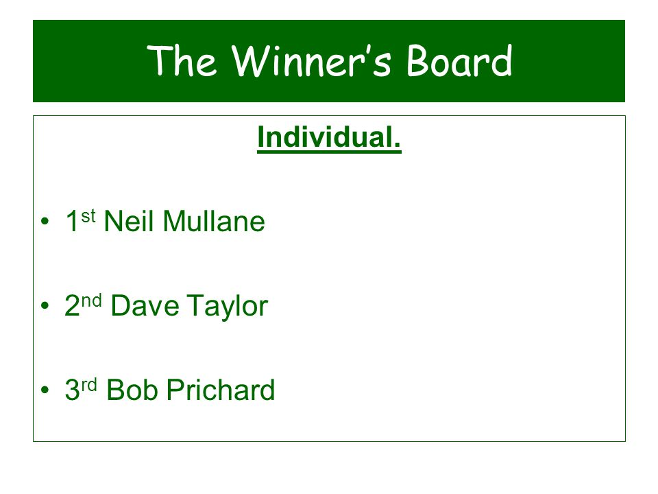 The Winner's Board Individual. 1 st Neil Mullane 2 nd Dave Taylor 3 rd Bob Prichard