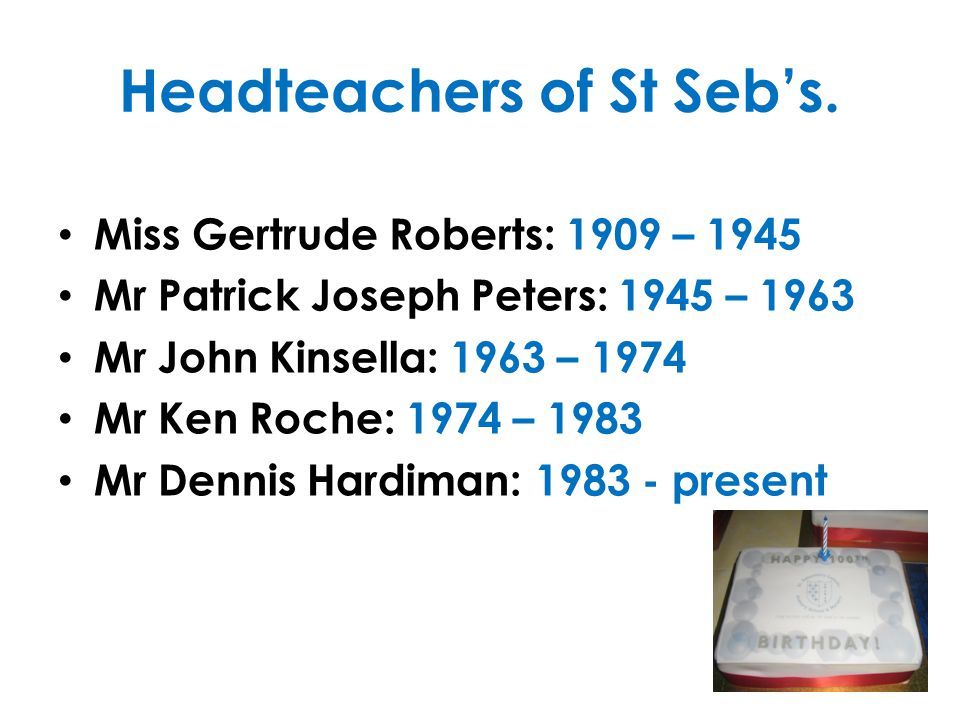 1959 - 1969 This decade saw the Senior girls & boys leave St Sebastian's: Girls aged 11+ on 01.09.61 finished at the school today, prior to commencing on 07.09.61 at St Agnes' Catholic Secondary School, Old Swan (20 July 1961) & The school commenced as a Junior & Infant school, the senior boys attending Cardinal Newman Secondary Modern School. (6 Sept 1962) Mr PJ Peters retired after 26 years service to the school, the last 18yrs & 7mths in the capacity of Headmaster. (18 July 1963) Mr John Kinsella took over this post.