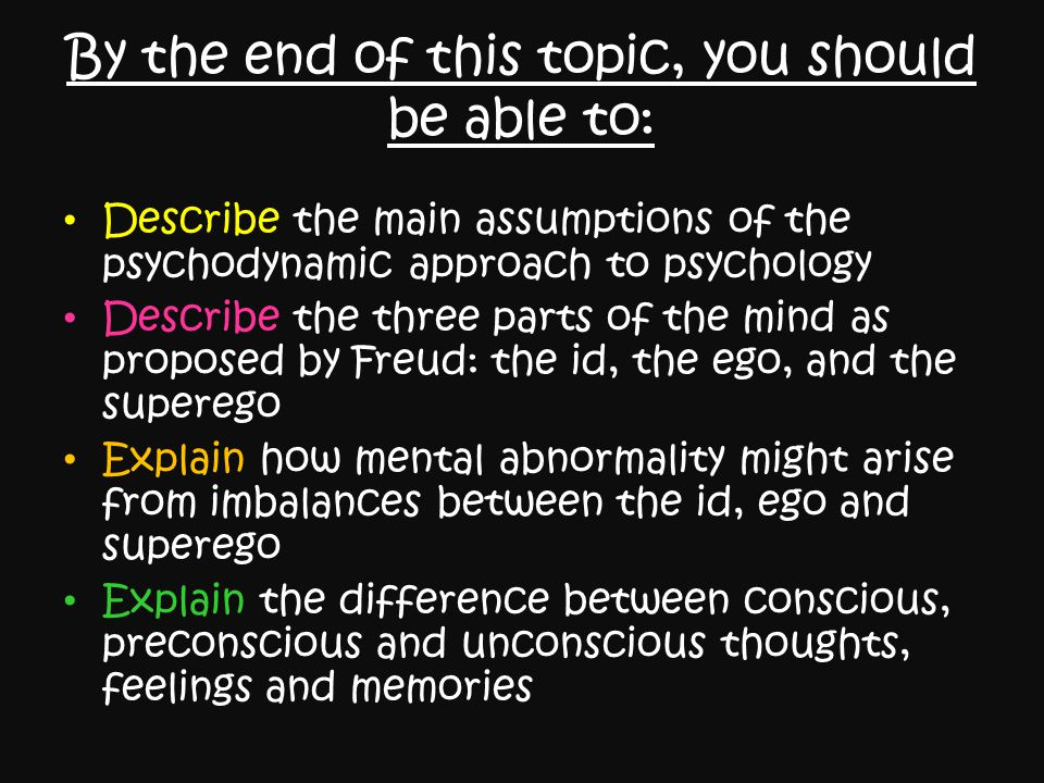 By the end of this topic, you should be able to: Describe the main assumptions of the psychodynamic approach to psychology Describe the three parts of