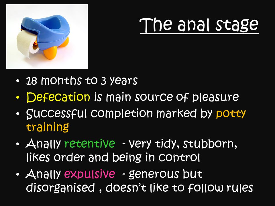 The anal stage 18 months to 3 years Defecation is main source of pleasure Successful completion marked by potty training Anally retentive - very tidy,