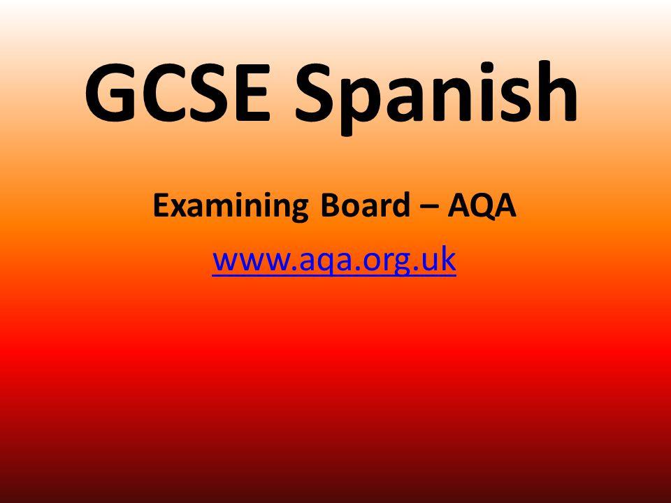 GCSE Spanish Examining Board – AQA www.aqa.org.uk