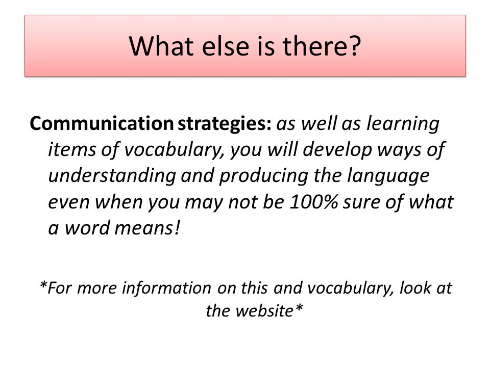 What else is there? Communication strategies: as well as learning items of vocabulary, you will develop ways of understanding and producing the langua