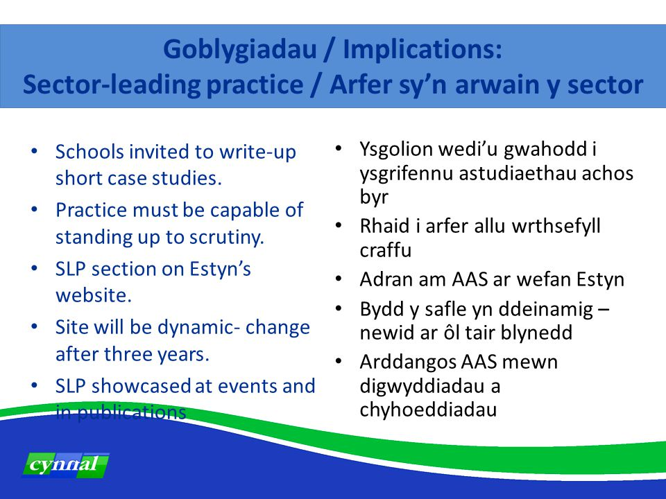Goblygiadau / Implications: Sector-leading practice / Arfer sy'n arwain y sector Schools invited to write-up short case studies.