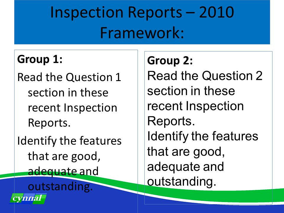 Inspection Reports – 2010 Framework: Group 1: Read the Question 1 section in these recent Inspection Reports.