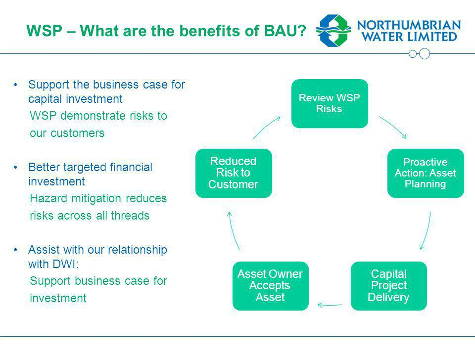 WSP – What are the benefits of BAU.