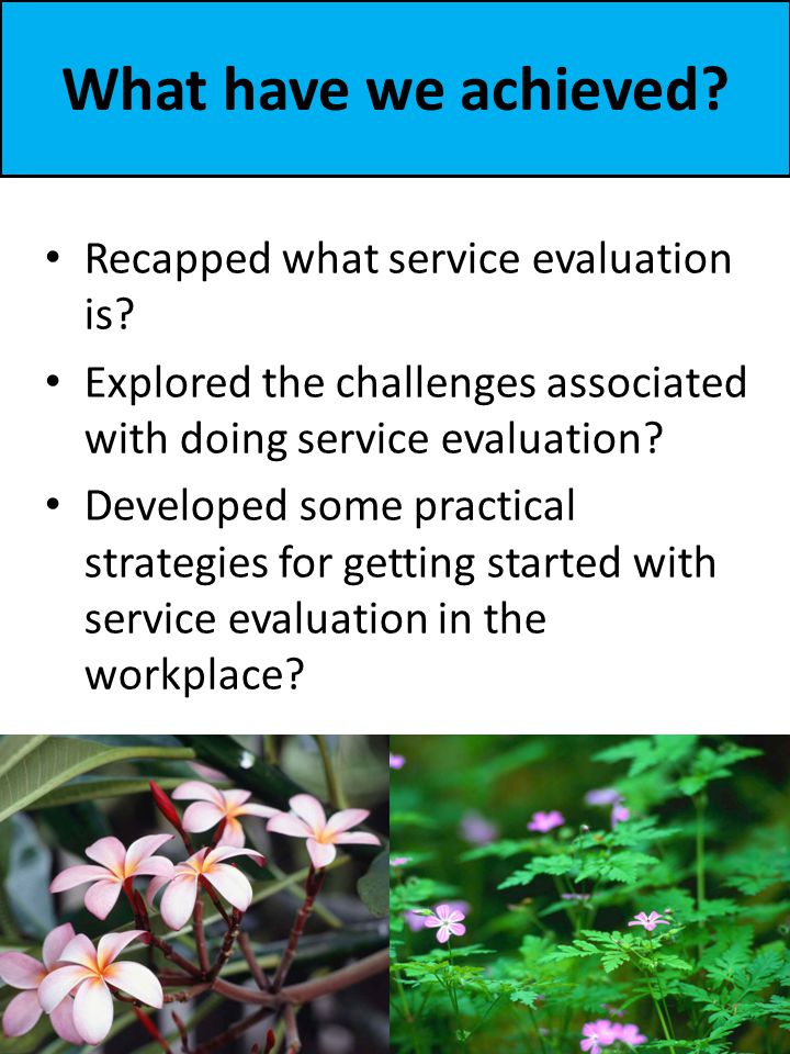 What have we achieved.Recapped what service evaluation is.