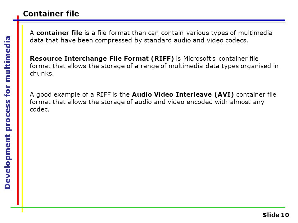 Slide 10 Development process for multimedia Container file A container file is a file format than can contain various types of multimedia data that have been compressed by standard audio and video codecs.