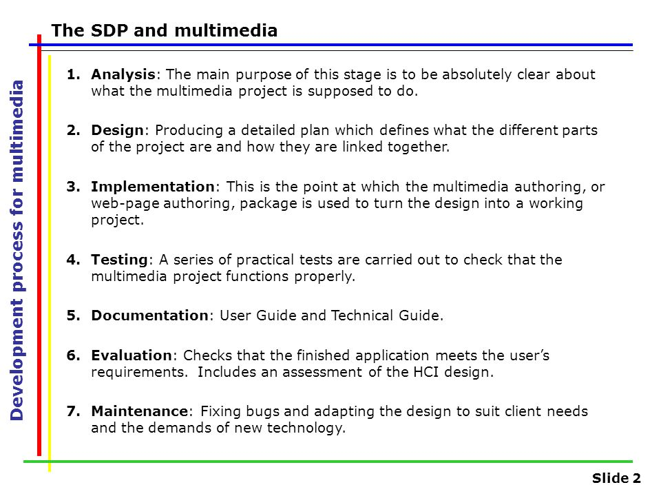 Slide 2 Development process for multimedia The SDP and multimedia 1.Analysis: The main purpose of this stage is to be absolutely clear about what the multimedia project is supposed to do.