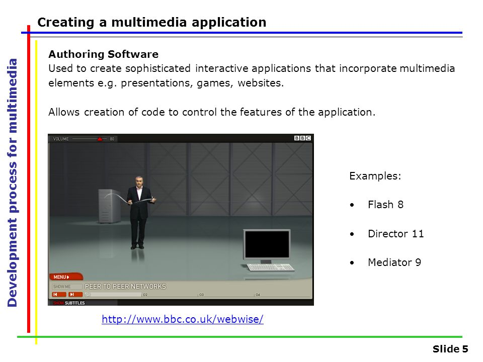 Slide 5 Development process for multimedia Creating a multimedia application Authoring Software Used to create sophisticated interactive applications that incorporate multimedia elements e.g.