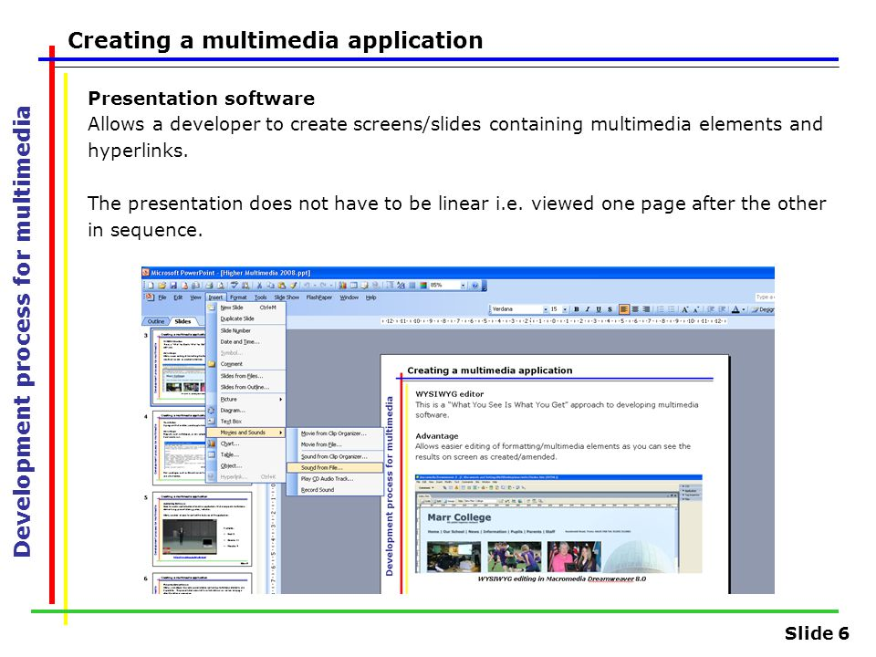 Slide 6 Development process for multimedia Creating a multimedia application Presentation software Allows a developer to create screens/slides contain