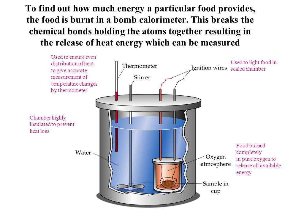To find out how much energy a particular food provides, the food is burnt in a bomb calorimeter. This breaks the chemical bonds holding the atoms toge