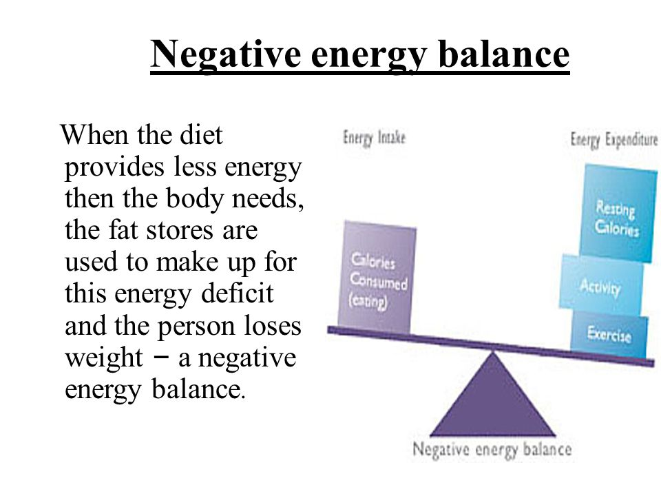 When the diet provides less energy then the body needs, the fat stores are used to make up for this energy deficit and the person loses weight – a neg