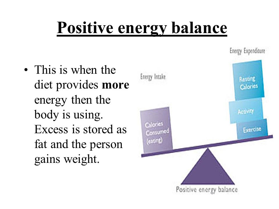 Positive energy balance This is when the diet provides more energy then the body is using. Excess is stored as fat and the person gains weight.