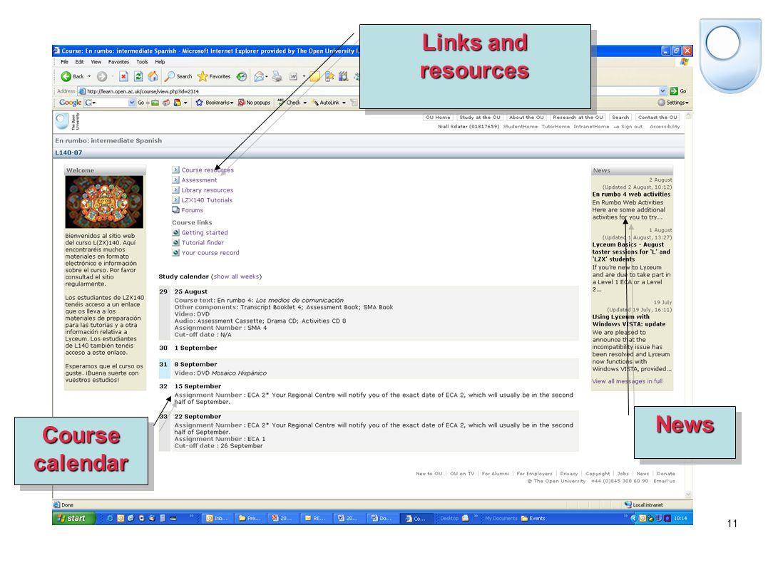 11 NewsNews Course calendar Links and resources