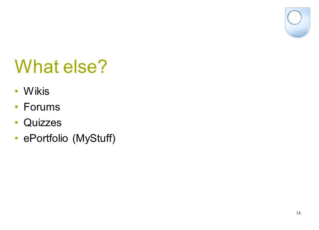14 What else Wikis Forums Quizzes ePortfolio (MyStuff)
