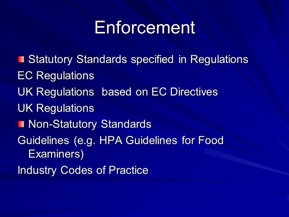 Enforcement Statutory Standards specified in Regulations EC Regulations UK Regulations based on EC Directives UK Regulations Non-Statutory Standards Guidelines (e.g.