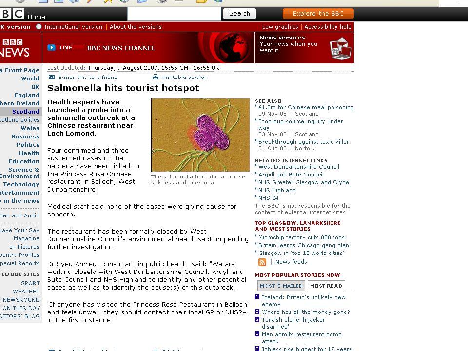 Pathogens that emerged in late 20 th Century Listeria monocytogenes Yersinia enterolytica E.coli 0157 Campylobacter jejuni BSECryptosporidium Helicobacter pylori HIVSARS Avian Flu Clostridium difficile Legionella pneumophila Enterobacter sakazakki MRSA