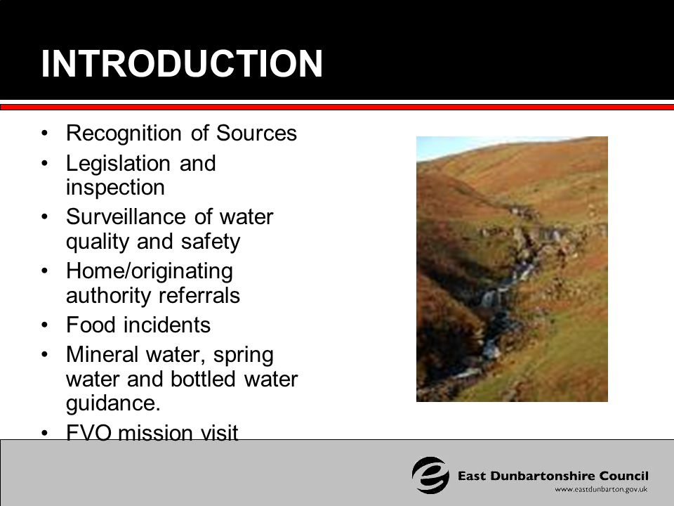 Natural Mineral Water Producer East Dunbartonshire Council is responsible for carrying out official controls at Campsie Spring who produce mineral water at their site in Lennoxtown, 9 miles north of Glasgow They abstract water from the Campsie hills and the first sources were recognised in 1985 Additional bore holes were sunk and the last source was recognised in 1990 In total 9 separate sources, each with a unique profile are exploited