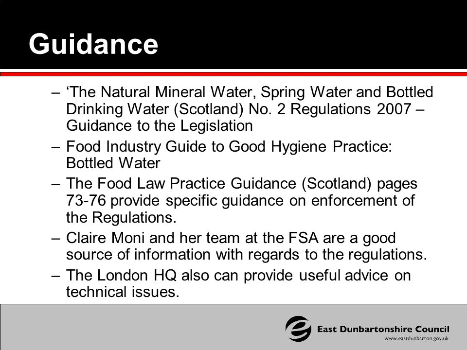 Guidance –'The Natural Mineral Water, Spring Water and Bottled Drinking Water (Scotland) No.
