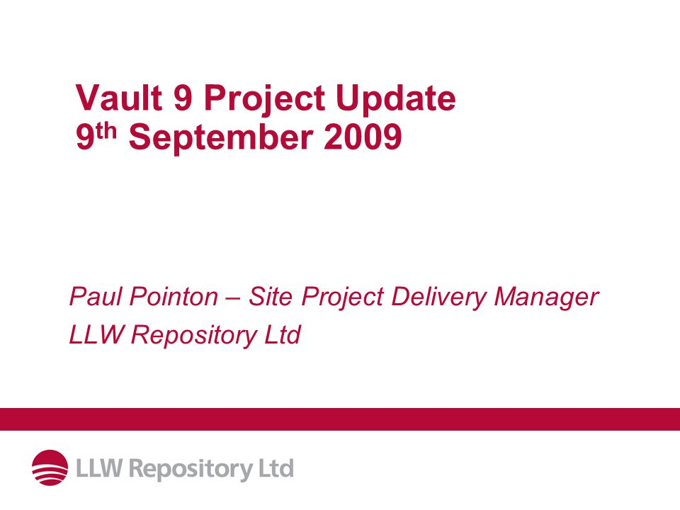 Date: 11/03/20092 Overview of Presentation Vault 9 Design Current Status