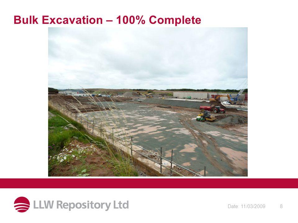Date: 11/03/20098 Bulk Excavation – 100% Complete