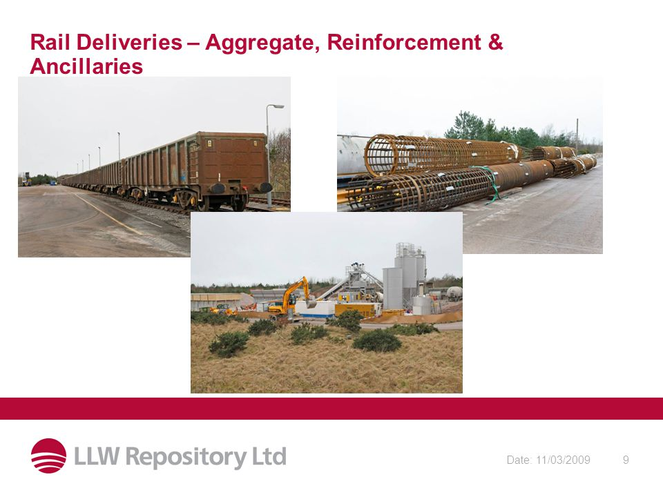 Date: 11/03/20099 Rail Deliveries – Aggregate, Reinforcement & Ancillaries