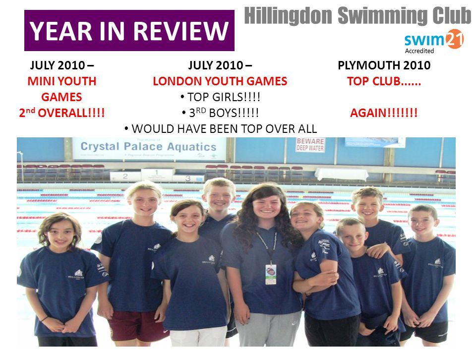 YEAR IN REVIEW Hillingdon Swimming Club JULY 2010 – MINI YOUTH GAMES 2 nd OVERALL!!!.