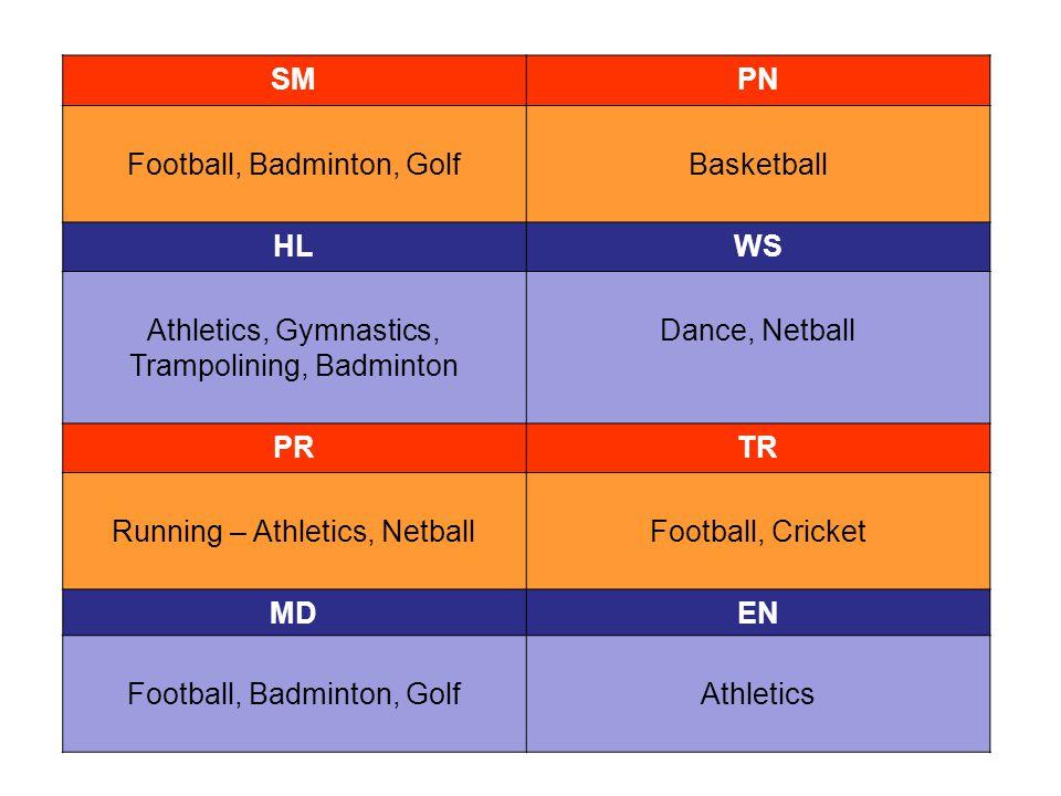SMPN Football, Badminton, GolfBasketball HLWS Athletics, Gymnastics, Trampolining, Badminton Dance, Netball PRTR Running – Athletics, NetballFootball, Cricket MDEN Football, Badminton, GolfAthletics