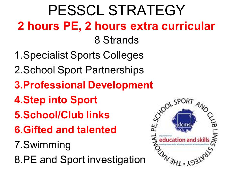 PESSCL STRATEGY 2 hours PE, 2 hours extra curricular 8 Strands 1.Specialist Sports Colleges 2.School Sport Partnerships 3.Professional Development 4.Step into Sport 5.School/Club links 6.Gifted and talented 7.Swimming 8.PE and Sport investigation